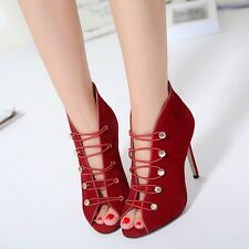 Sexy Hollow Out Lace Up Sandals Peep Toe Suede Stilettos High Heels Women Shoes
