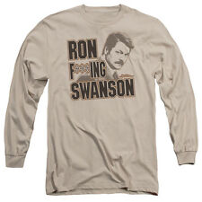 Parks and Recreation Ron F***Ing Swanson Mens Long Sleeve Shirt SAND