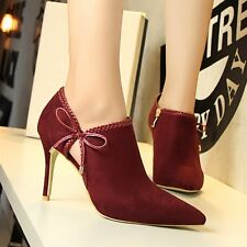 Stilettos Hollow Out Bowknot High Heels Sexy Suede Pumps Women's Nightclub Shoes
