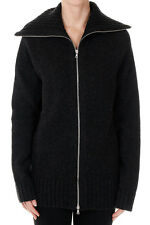 DRIES VAN NOTEN New woman Dark Grey Zipped Cardigan Wool Sweater Knit NWT