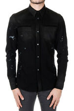 ROBERTO CAVALLI New Men Black Vintage Effect cotton Shirt Made in Italy NWT