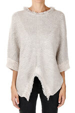 PINKO New Woman Beige Fringes CONTENTA Poncho Sweater Made in Italy NWT