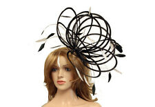 Large Black & White Fascinate Fascinator hat/choose any colour satin/ feathers