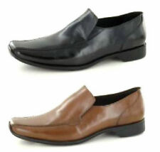 MENS MAVERICK LEATHER SLIP ON SMART SHOES IN BLACK & TAN STYLE A1110