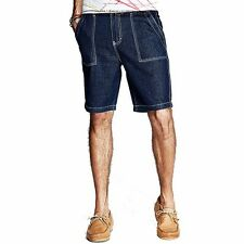 Summer Mens Casual Fifth Jeans Slim Skinny Stretchy Pants / Trousers Blue 29~36