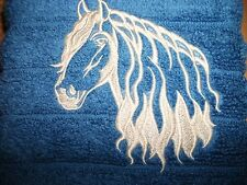 FRESIAN HORSE,WESTERN, EMBROIDERED HAND TOWEL, BLUE TOWEL