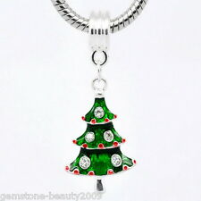 Wholesale HOT! Enamel Christmas Tree Dangle Bead Fit Charm Bracelet