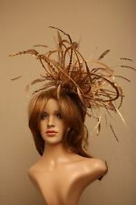 New Large Gold Fascinate / Fascinator Hat/choose any satin/feather colour
