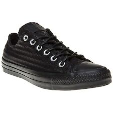 New Womens Converse Black All Star Ox Leather Trainers Canvas Lace Up