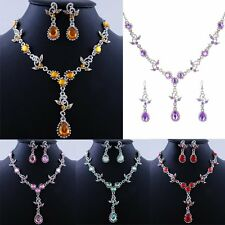 Women's Crystal Pendant Necklace Drop Earrings Wedding Bridal Jewellery Set