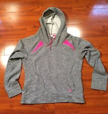 Women's Under Armour Pull Over Sweatshirt Hoodie Top Large Semi Fitted Gray Pink