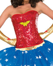 Adult Women's Sexy Deluxe Wonder Woman Sequin Corset Costume Accessory