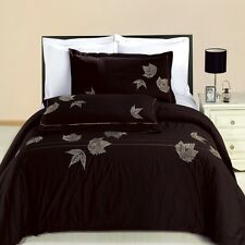 8PC Newbury Embroidered Bed in a Bag Set- Duvet Set-Sheets & White Comforter