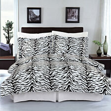 8PC Super-Soft Zebra Bed in a Bag Set- Duvet Set-Sheets & White Comforter