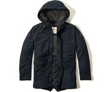 NWT Hollister by Abercrombie Coated Cotton Sherpa Parka Coat Jacket L Navy
