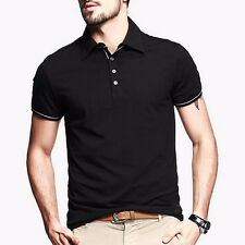 Handsome Men Polo Shirt Short Sleeve T-shirt Fitted Solid Basic Tee Cotton M~2XL