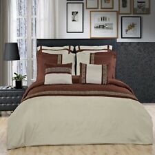 12PC Astrid Sage/Chocolate Bed in a Bag Set- Duvet Set-Sheets & White Comforter