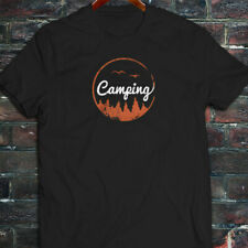 CAMPING ADVENTURE TREES BIRDS MOUNTAINS OUTDOORS Mens Black T-Shirt