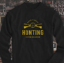 DUCK AND DEER HUNTING OPEN SEASON HUNT GUN TARGET Mens Black Long Sleeve T-Shirt