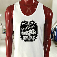 VINTAGE SPORT CAR RACING CLASSIC SPEED LEGENDARY Mens White Tank Top