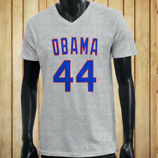 OBAMA 44 CUBS JERSEY CHICAGO BASEBALL CHAMPS MLB Mens Gray V-Neck T-Shirt