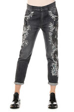 AMEN Women grey Denim EMBROIDERED FISH Sequins Jeans Made in Italy New
