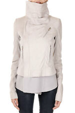 RICK OWENS Women Grey CLASSIC BIKER SHORT Jacket Made in Italy New