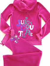 Juicy Couture Kids Girls Track Velour Tracksuit Hoodie Pants Pink Glitter Set 12