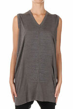 RICK OWENS LILIES New Woman Grey Angora Wool Tee Top Embroidery Made in Italy