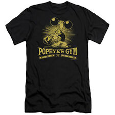 Popeye Popeyes Gym Mens Slim Fit Shirt BLACK