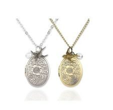 Mint Jules Ornate 30-inch Oval Picture Locket Necklace with Pearl and Swallow