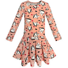 Girls Dress Star Print Coral Everday School Spring Dress Age 4-10 Years