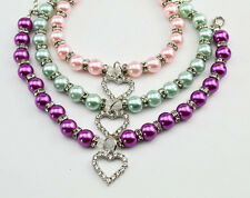 Dog Puppy New Cat Identity Jewelry Necklace Pendant Pet Collar Pearl Charm
