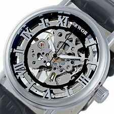 Luxury Leather Mechanical Stainless Steel Classic Wrist Skeleton Steampunk Watch