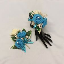 WEDDING FLOWERS PROM LADIES BRIDESMAID CORSAGE PACKAGE TURQUOISE BLUE FOAM ROSES