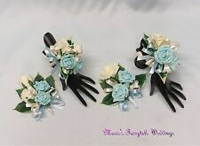 WEDDING FLOWERS PROM LADIES BRIDAL BRIDESMAID CORSAGE PACKAGE LIGHT BLUE ROSES
