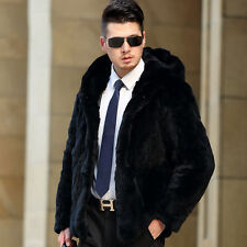 Men 100% Real Rabbit Fur Black Coat/Jacket Hoodie Outwear Warm Business Coat