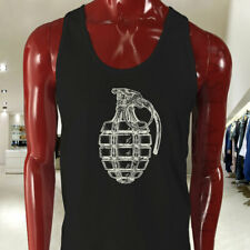 VINTAGE GRENADE ARMY MILITARY SPECIAL FORCES BOMB Mens Black Tank Top