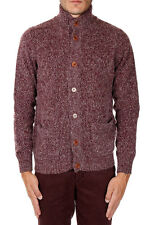 HERITAGE New Men Purple Virgin Wool Blend Pockets Turtleneck Sweater Cardigan