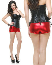 Womens Sexy 50s or 80s Dance Crew Red Lame Liquid Metal Boy Shorts Hot Pants