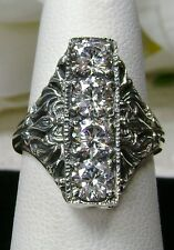White 4-Gem Solid Sterling Silver Edwardian Filigree Ring Size: {Made To Order}