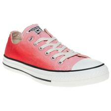 New Womens Converse Red Pink All Star Ox Canvas Trainers Lace Up