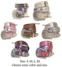 Cowgirl Western Rhinestone Crystal Cross Snap on Buckle Leather Belt