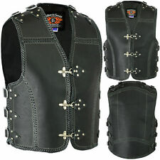 MENS HANDMADE MOTORCYCLE 3MM THICK CLUB VEST COWHIDE LEATHER METAL CLAPS & BRAID