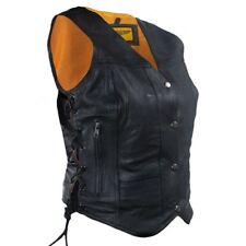 WOMENS LADIES MOTORCYCLE BLACK LEATHER VEST w/ CONCEALED GUN POCKETS - DA91