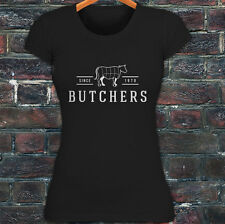 BUTCHERS COW BEEF CARNIVORE MEAT SLAUGHTER FOOD Womens Black T-Shirt