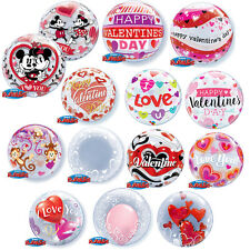 """VALENTINES DAY - Clear 22""""  Bubble BALLOONS - Round (Qualatex) Love/Hearts/Gift"""