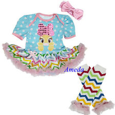 Baby Easter Polka Dots Bling Bow Bunny Chevron Tutu Romper Warmers Party Dress