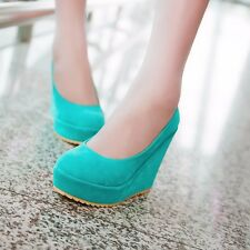 Womens Synthetic Suede High Heels Platforms & Wedges Solid Casual Pumps Shoes