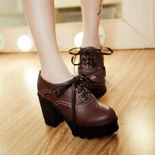 Womens Synthetic Leather Platforms High Block Heels Lace Up Ankle Boots Shoes